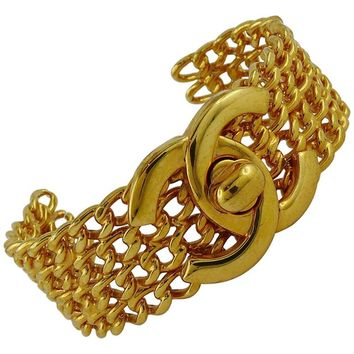 Chanel Vintage 1997 CC Turnlock and Chains Gold Toned Cuff Bracelet
