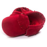 Newborn Toddler Baby Boy Girl Tassel Soft Soled Non-slip Crib Shoes Infant Coral Velvet Moccasins
