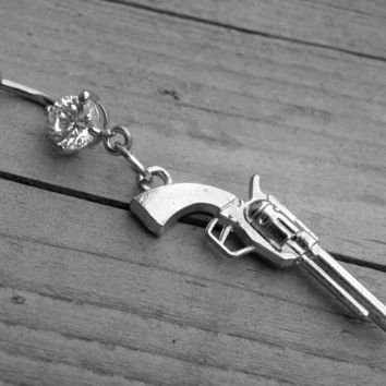 Gun Belly Button Ring Diamond Belly Ring Navel Piercing Silver Body Jewelry Western Pistol Punk Rock n Roll Rocker Heavy Metal Rock and Roll