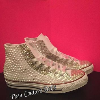 ICIKGQ8 couture pearl and crystals custom converse