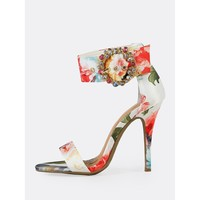 Flower Print Single Band Stiletto Heel with Rhinestone Embellished Buckle WHITE MULTI