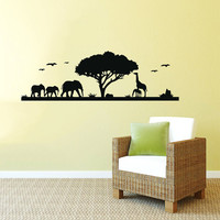 Safari Wall Decal Vinyl Sticker Decals Art Home Decor Mural African Safari Tree Animals Giraffe Elephant Jungle Bathroom Sahari Africa AN534