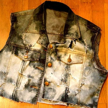 Croppedbleacheddestroyed denim vest by Wonderfuloriginals on Etsy