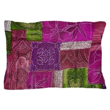 Pink Patchwork Pillow Case> Patchwork, Flowers, Petals, Swirls> Strawberry and Hearts