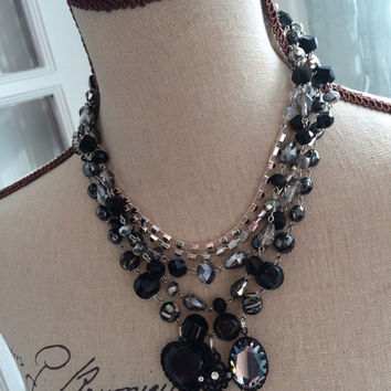 Statement Necklace - Multi Strand Crystal and Charm Tangle Necklace - CLARA