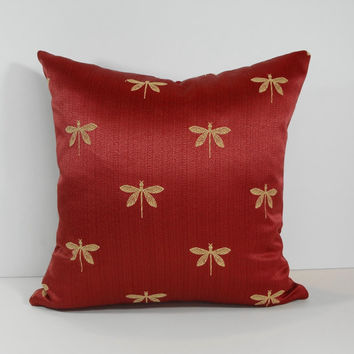Decorative Chenille Dragonfly Pillow Cover, 18 x 18, Burgundy, Mustard, Red, Yellow