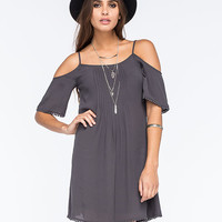 Patrons Of Peace Cold Shoulder Dress Charcoal  In Sizes
