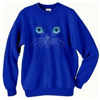 Amazon.com: Blue Cat Eyes Sweatshirt (Medium, Royal): Clothing