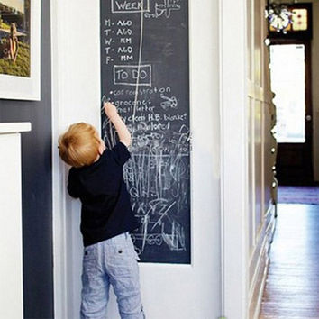 BornIsKing 45x200cm Chalk Board Blackboard Stickers Vinyl Draw Decor Mural Decals Art Chalkboard Wall Sticker for Kids Rooms