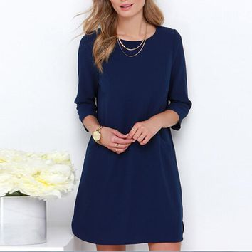 Spring Dress Casual Women Three Quarter Sleeve Chiffon Short Dresses Flat Solid Color Mini Dress Vestidos