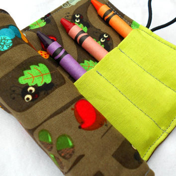 Animal Homes Crayon Roll - Mouse Ladybug Crayon Pink Roll, 8 Crayons
