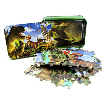Set of 200 Pieces Paper Jigsaw Puzzles-Dinosaur