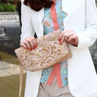 Latest Elegant Floral Embroidered Lace Rivet Handbag from styleonline