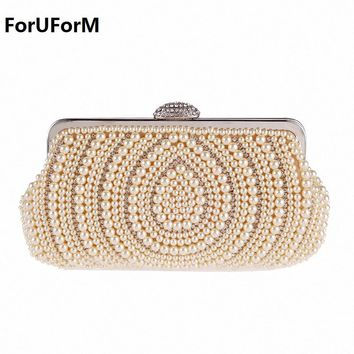 Beaded Women Evening Bags Diamonds party Day Clutches Small Purse Day Clutches Handbags female Pearl Wedding Bags LI-1808