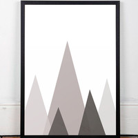Mountains poster, Geometric print, Geometric mountain, Home decor, Abstract poster, Wall print, Mid century modern, Modern print, Minimalist