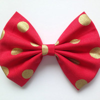 Red & Gold Polka Dot Bow