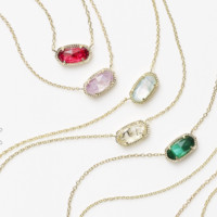 Kendra Scott: Elisa Gold Pendant Necklace in Ruby Red