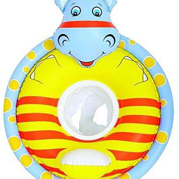 By PoolCentral 31.5 inch  Gray and Yellow Hippo Children's Inflatable Swimming Pool Baby Seat Float