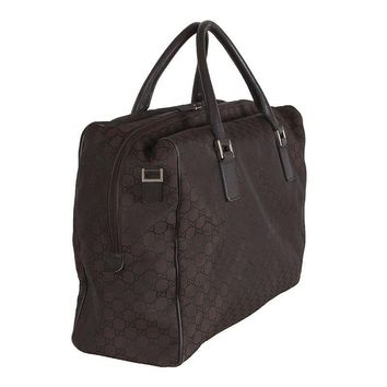 42336 auth GUCCI brown monogram GG nylon Weekender Carry-On Travel Bag