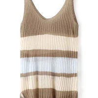 Khaki Strappy Striped Knit Tank Top