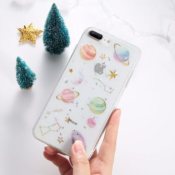 KISSCASE Glitter Planet Silicone Case For iPhone 6 6s 7 8 Soft TPU Flash Powder Patterned Cases For iPhone X 10 5 5s se 7 8 Plus