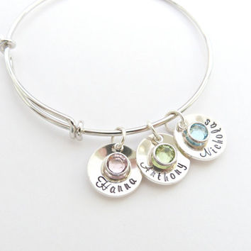 Personalized Mothers Birthstone Bracelet, Custom Name Jewelry, Birthstone Jewelry, Gift for Grandma,Name Jewelry , Nana gift,