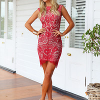 AUBRY DRESS (RED) - Ruby red high neck midi lace dress