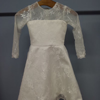 Cute Long Sleeves Toddler Lace Dress Flower Communion Dress (F006)