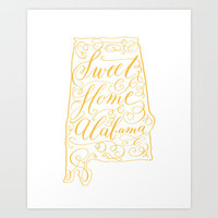 Sweet Home Alabama (yellow on white) Art Print by imkellycummings