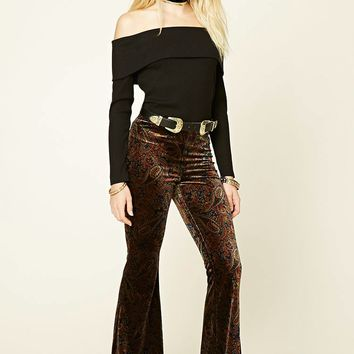 Paisley Velvet Flared Pants