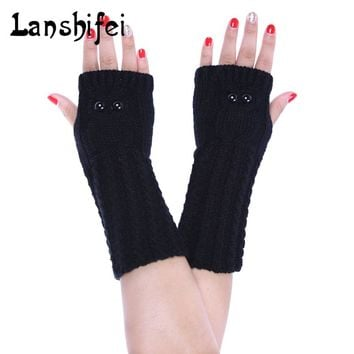 2017 New Women Gloves Knitted Hand Warmer Winter Gloves Female Arm Crochet Knitting Acrylic Mitten Warm Fingerless Gloves Gants