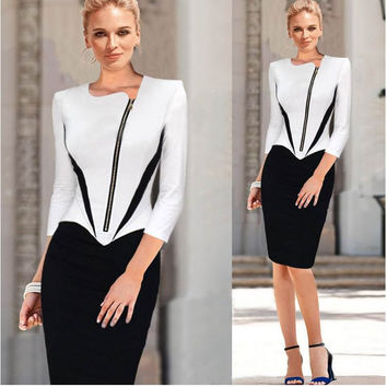 White Half Sleeve Side Zip Pencil Midi Dress