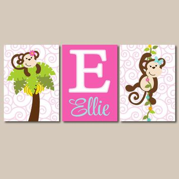 GIRL MONKEY Wall Art, CANVAS or Prints, Baby Girl Nursery Decor, Flower Monkey, Personalized Girl Bedroom Pictures, Set of 3 Custom Gift