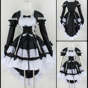 Cool New Fashion Gothic Maid Cosplay Costume Anime Halloween Party Ball Gown Vintage Bowknot Dresses Women Lolita Dress Free ShipAT_93_12
