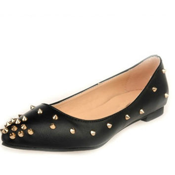 SPRING POINTY TOE PU LEATHER SEXY BALLET FLATS OXFORDS WOMEN SHALLOW MOUTH OFFICE CAREER SHOES SPIKES RIVET FASHION FLATS