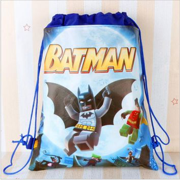 Super Hero Batman Inside Out Cartoon Kids Drawstring Backpack Shopping School Traveling Party Bags Birthday Gifts