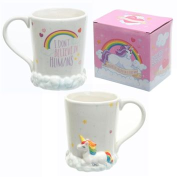 """New Unicorn Mug 3D Ceramic Coffee Ceramic Cup with Rainbow and White clouds """"I Don't Believe Humans"""""""