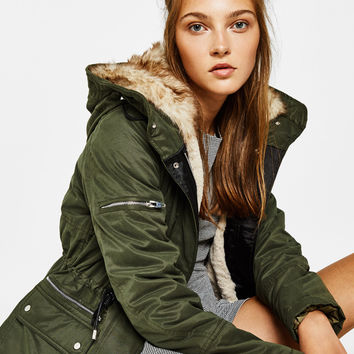 Short parka with hood - New - Bershka United States