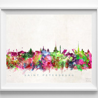 Saint Petersburg Skyline, Russia Print, Russia Poster, Cityscape, Watercolor Painting, Wall Decor, City Skyline, Christmas Gift
