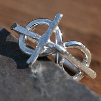 Cross Infinity Eternity Ring Pinky Faith Jewelry Fine Silver Ring Rustic US Size 3 Handmade by Maggie McMane Designs
