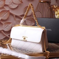 CHANEL WOMEN'S 2018 NEW STYLE LEATHER HANDBAG INCLINED SHOULDER BAG