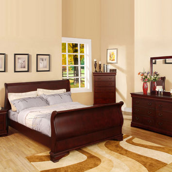 5 pc Laurelle Sleigh Bed in a Dark Cherry Finish Wood with a Classic Curved Design Queen Bedroom Set