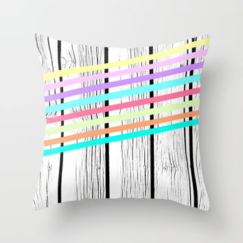 Rainbow stripes vs wood Throw Pillow by ARTbyJWP