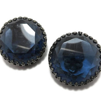 Weiss Blue Glass Earrings Vintage Estate Designer Signed Costume Jewelry Clip on Earrings