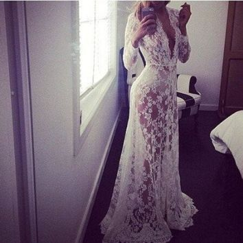 LMFHQ9 Sexy Lace Evening Party Ball Gown Formal Bridesmaid Cocktail Long Maxi Dress