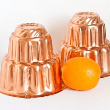 Vintage Copper Tone Blancmange Molds, Tall Pudding Form Jello Mold Aspic Pans, Country Cottage (Set of 2)