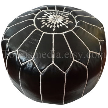 Moroccan black leather pouf handstitched pouffe ottoman with white stitching