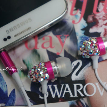 Sparkley Diamond Swarovski Crystal Earphone Headphone Earbuds Handsree with Microphone for Iphone/samsung Any 3.5mm Plug