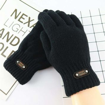 Men's winter double layer thick knitted gloves solid color fleece lining