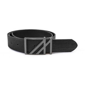 Mint Lizard Belt Black Gun Metal Square M Buckle